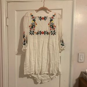 White Babydoll Floral Embroidered Dress